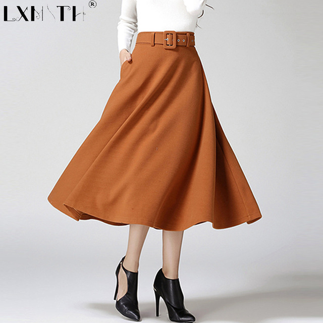 A-Line Skirts 2018 winter skirt long calf-length wool blend skirt belt solid a line skirts  women WYXSTAL
