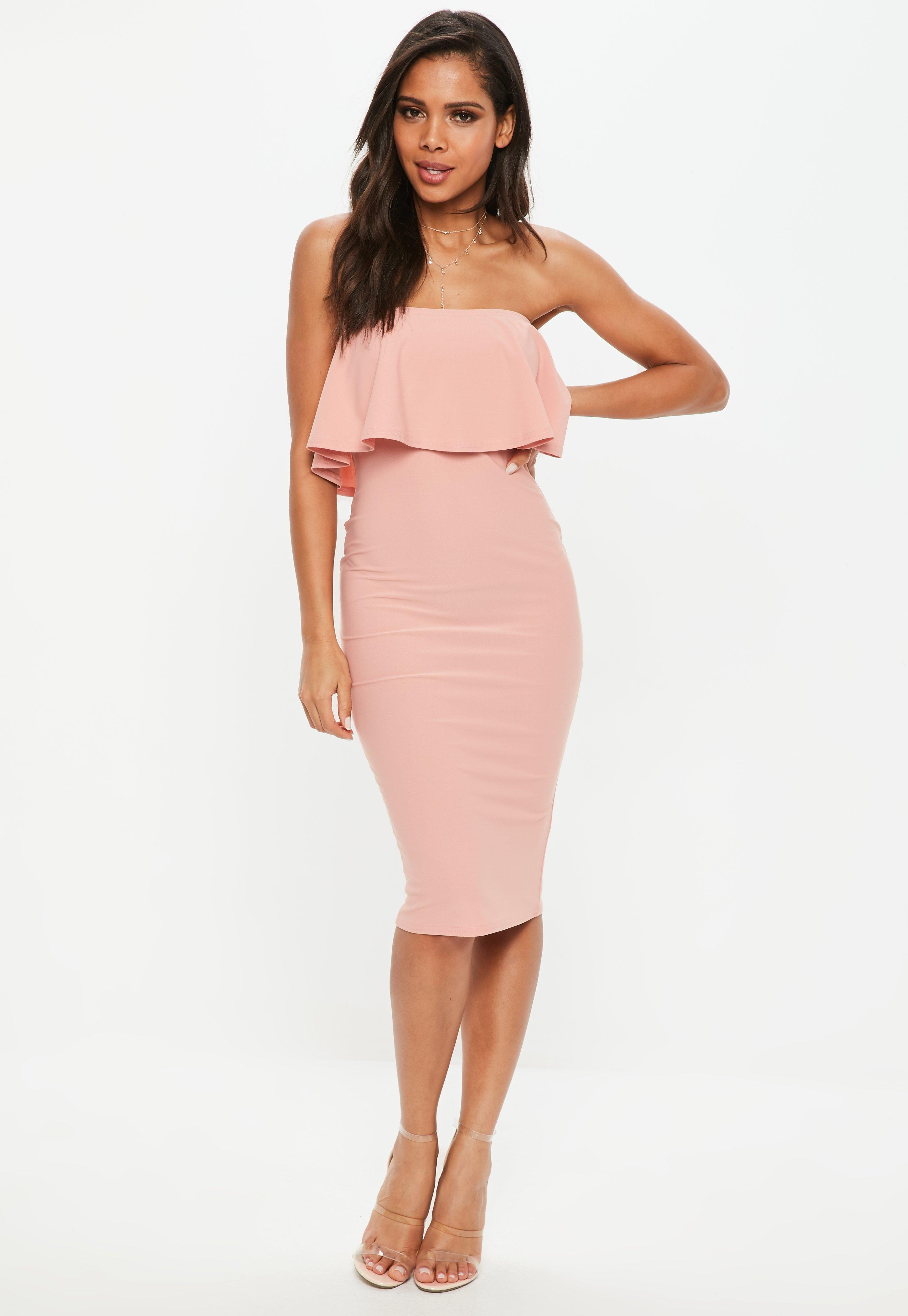 Bandeau Dress rose bandeau frill midi dress | missguided MQJYZJZ