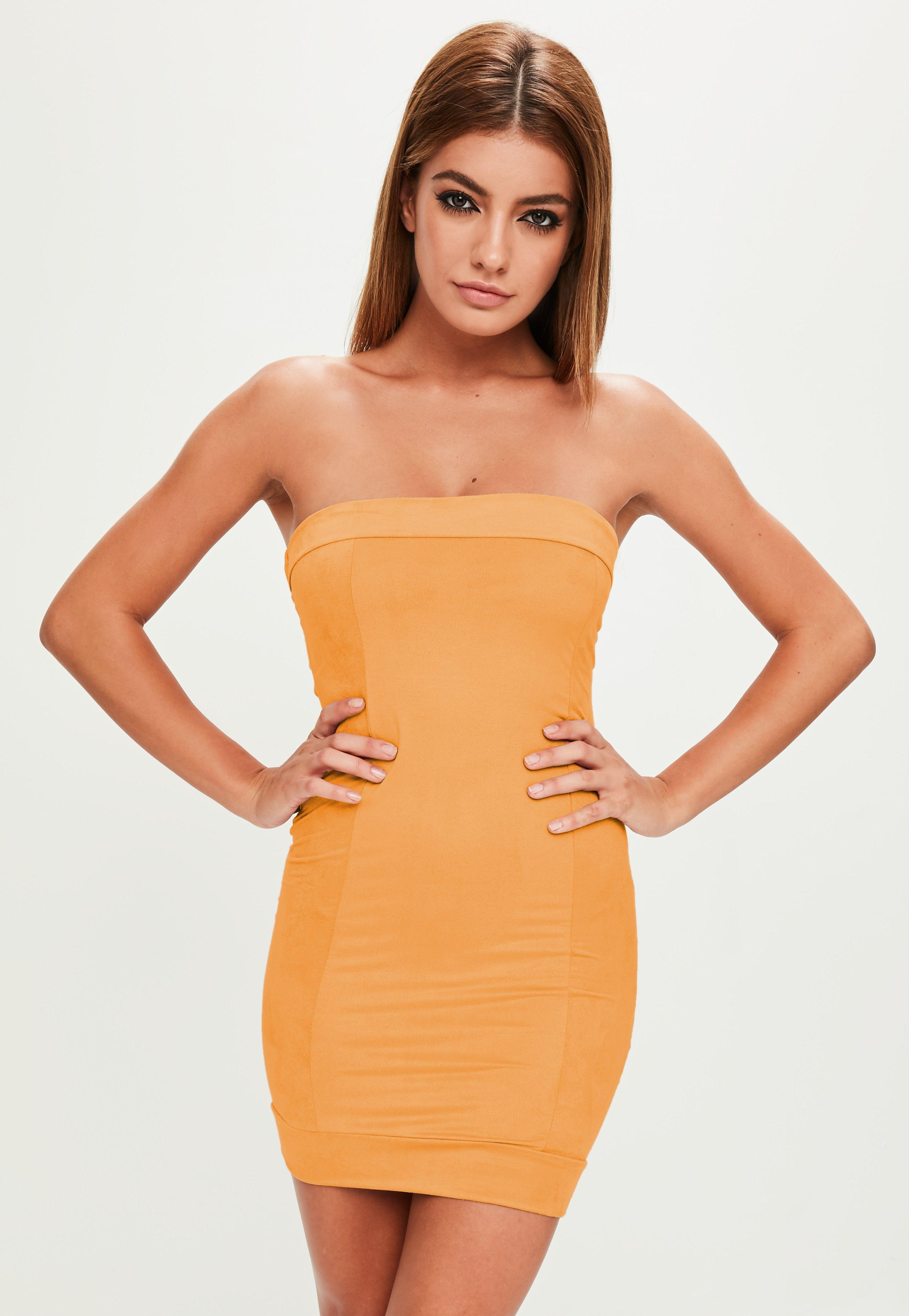 Bandeau Dress yellow faux suede bandeau dress | missguided FVVLGGI