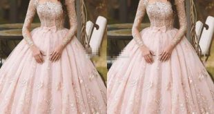 Beautiful Ball Gowns gorgeous pink beautiful ball gown prom dresses sheer long sleeve puffy  organza floor length formal HVOLOFG