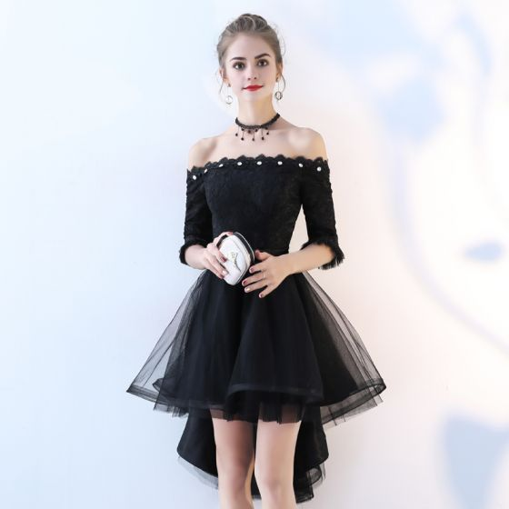 Beautiful cocktail dresses chic / beautiful black cocktail dresses 2017 a-line / princess lace bow  sequins off-the-shoulder backless QOQMLZV