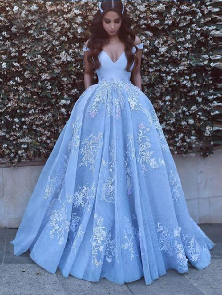 Beautiful prom dresses beautiful baby blue prom dresses with lace appliques off the shoulder floor  length TWCBZTO
