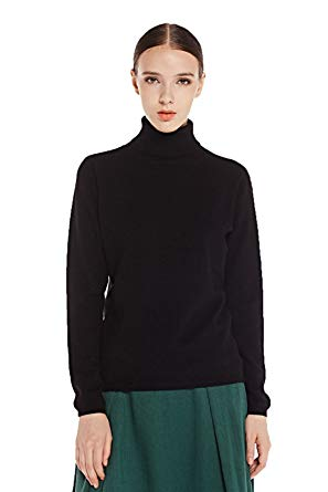 Black cashmere sweater miuk womenu0027s basic slim turtle-neck long sleeve 100% cashmere pullover sweater  black xs JWWTWID
