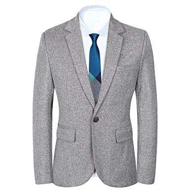 blazer for men menu0027s slim fit suits casual one button flap pockets solid blazer jacket (l,  gray WDKMHYV