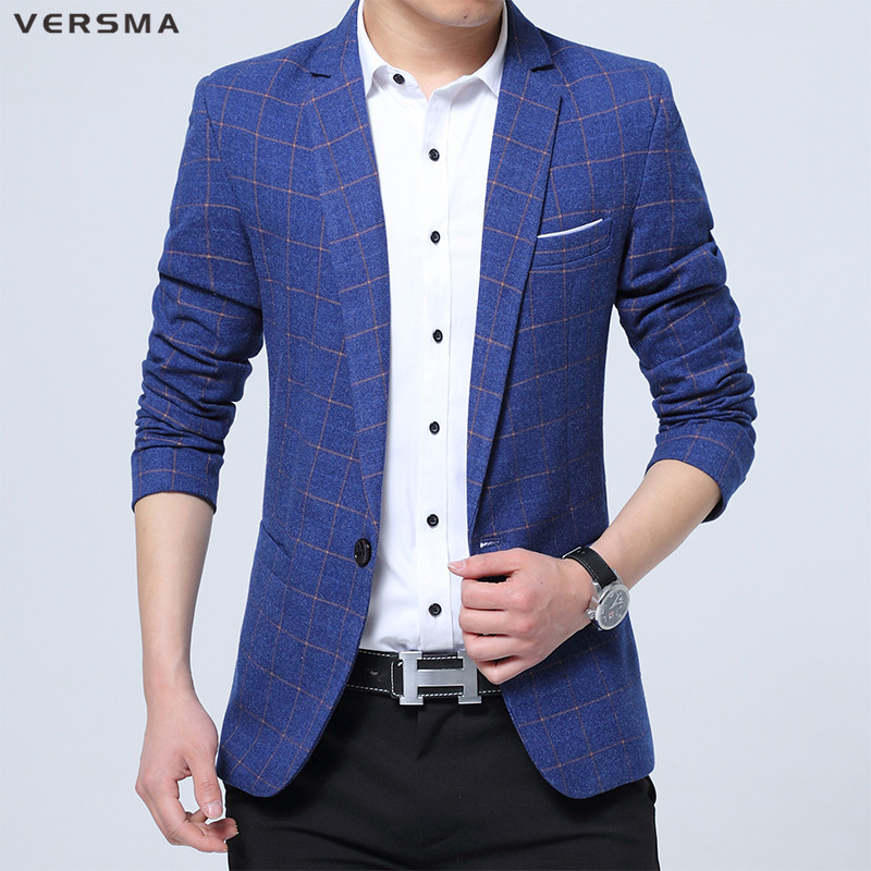 blazer for men versma 2017 spring summer polyester blazer men casual plaid red blazer for  men slim fit JUANYPM