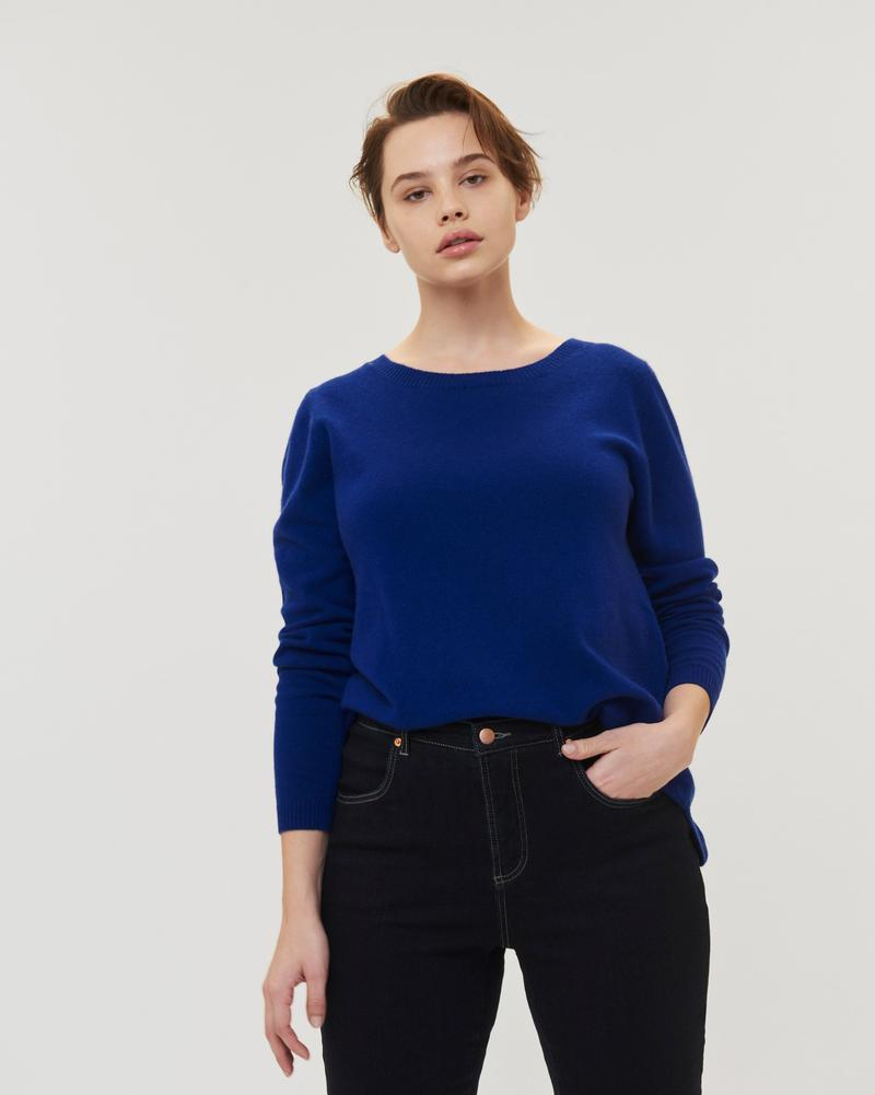 Blue cashmere sweater raquette cashmere sweater - brightest blue LBRWVZA