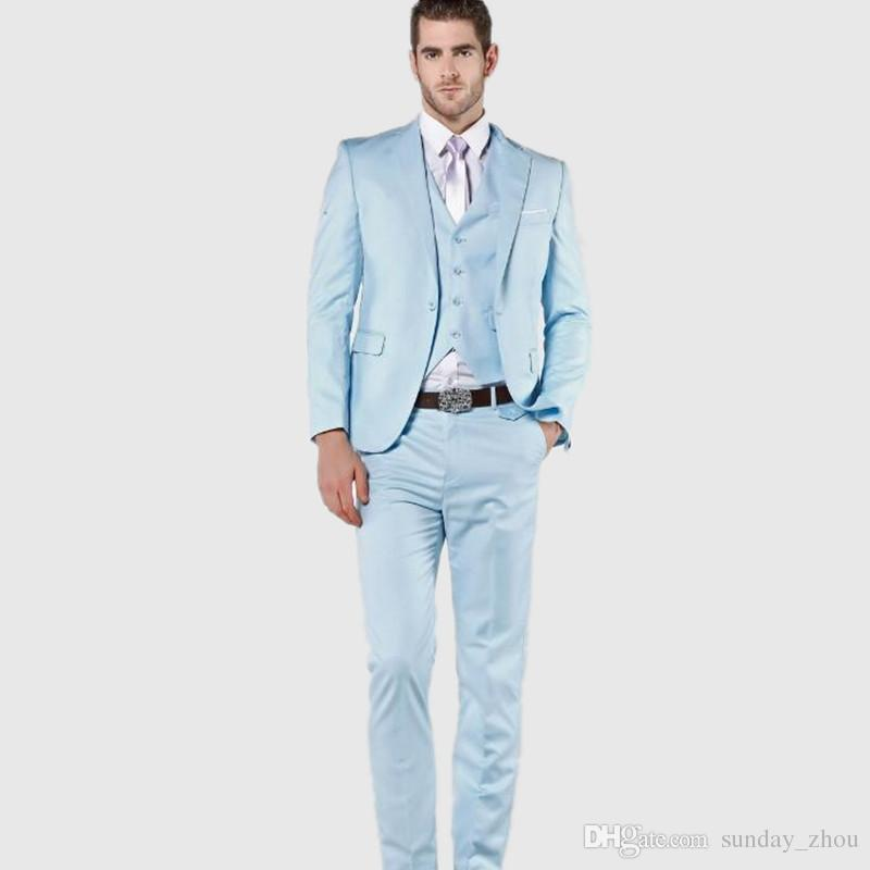 Blue men's suits best light blue men suits high quality wedding suits tuxedos for men slim  fit formal OVJJVRW