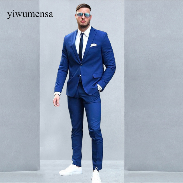 Blue men's suits custom made two buttons royal blue men suits 2018 fashion design business  men tuxedo skinny PGQJUPU