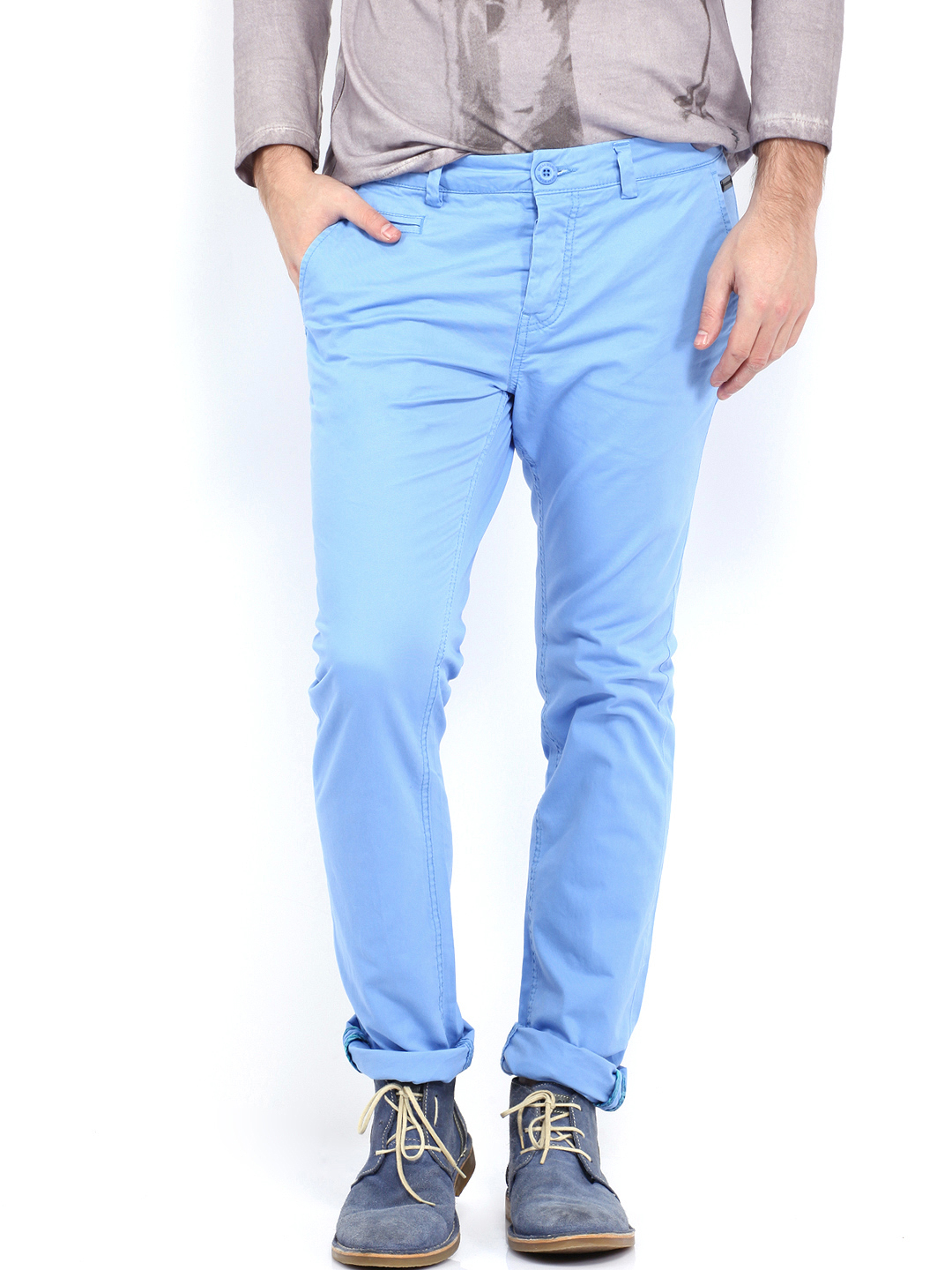 Blue Mens Trousers breakbounce men sky blue lozova stretch bear hug slim fit trousers  (multicolor) FTCWSRP