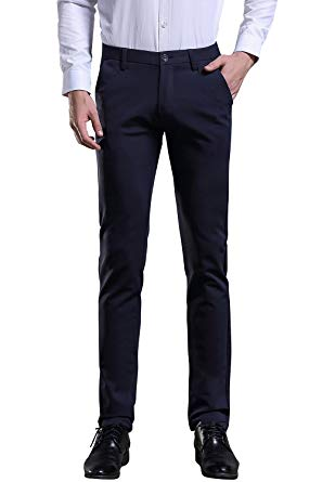Blue Mens Trousers fly hawk mens business casual dress work pants stretchy straight leg dress  trousers navy blue UGDCRAL