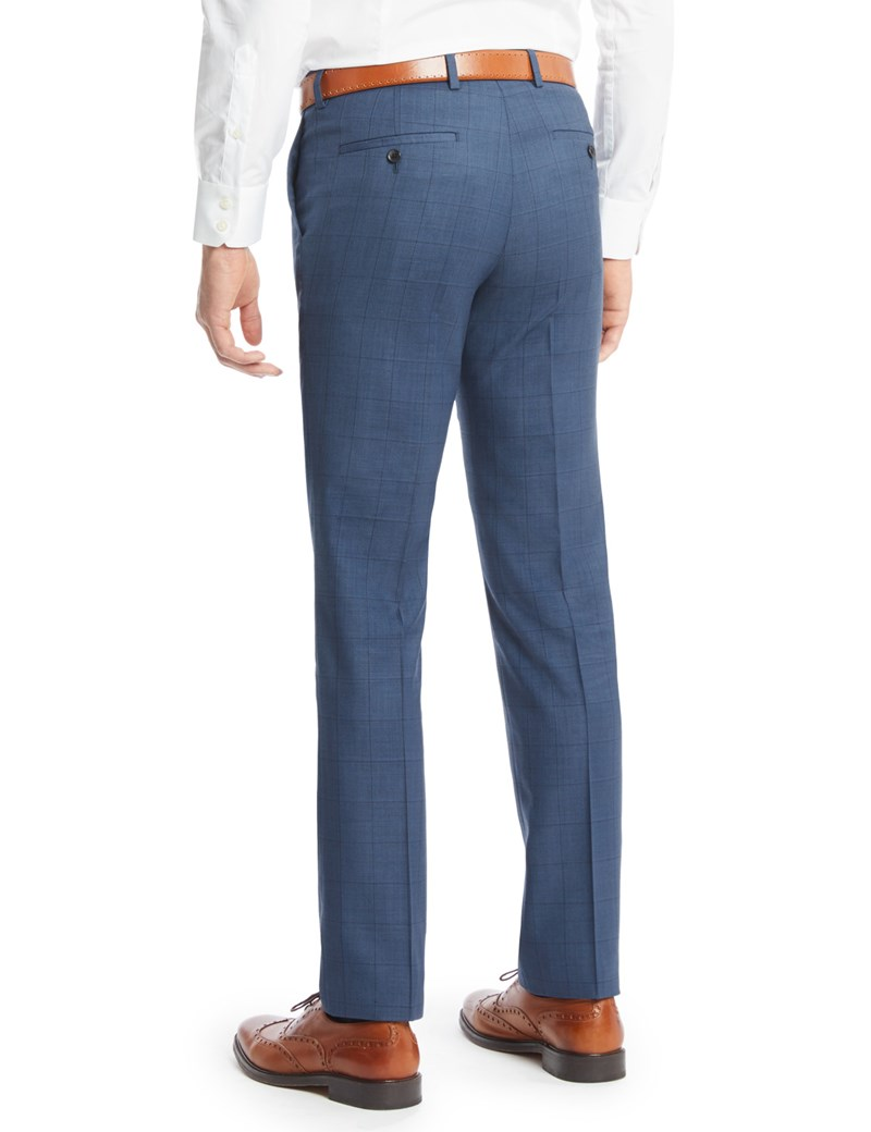 Blue Mens Trousers menu0027s blue double plaid slim fit suit pants JSZVVUV