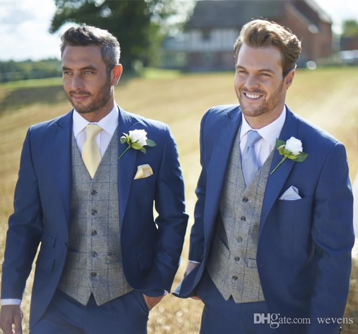 BLUE WEDDING SUITS hot sale blue wedding tuxedos slim fit suits for men custom jacket vest and  pants SLRHVRK