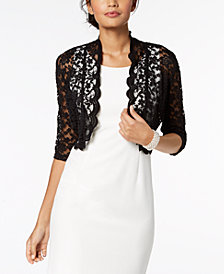 Boleros for Women connected scalloped lace shrug- regular u0026 petite sizes FZHSVNQ