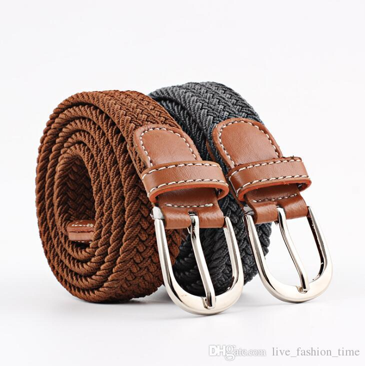 braided belts mens womens belts colorful canvas elastic fabric woven stretch multicolored braided  belts handmade ZQVUMNQ