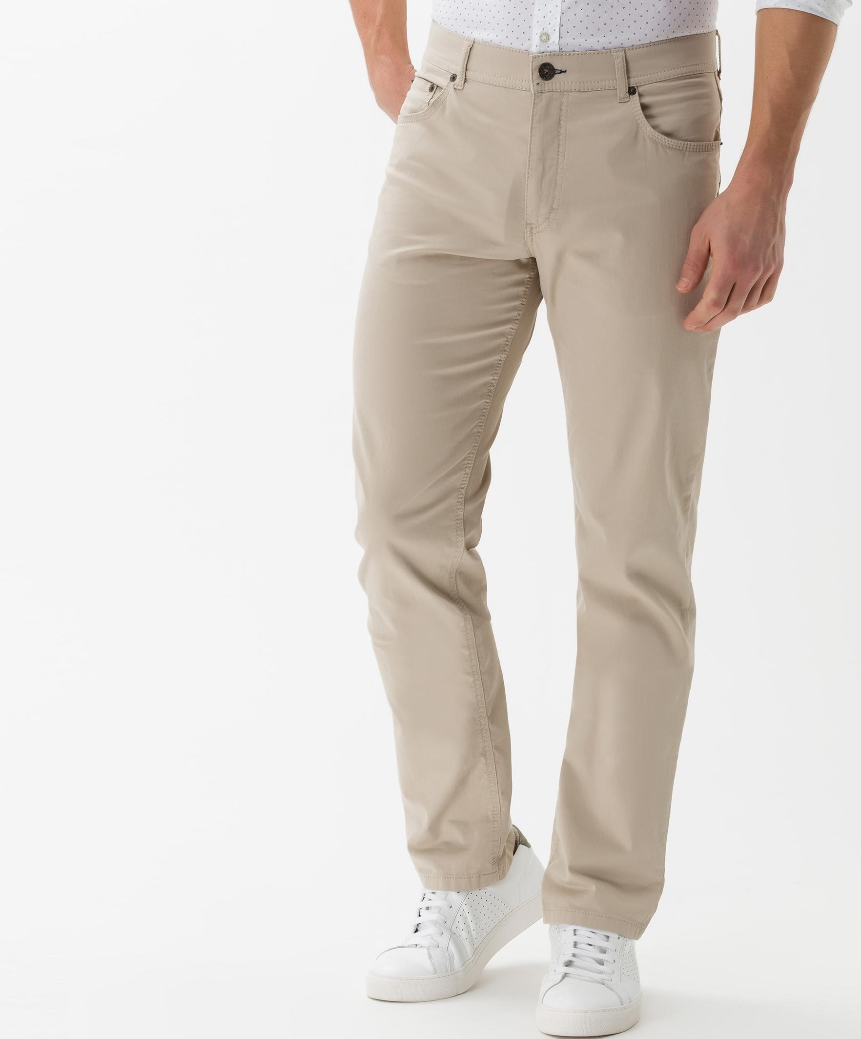 BRAX MENS TROUSERS brax mens cooper fancy five-pocket pants - beige LTUULCN