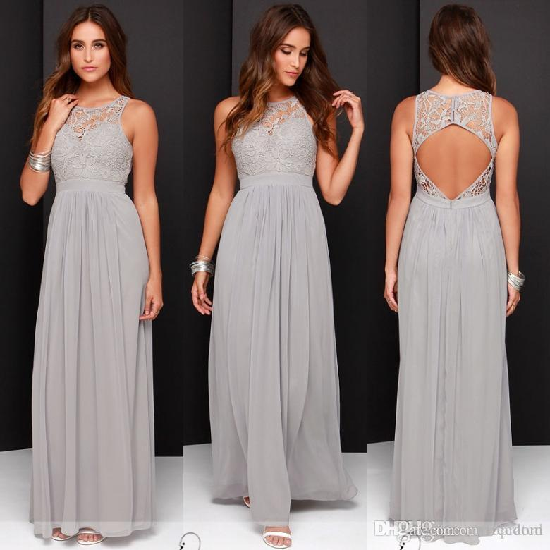 Bridesmaid Dresses Long 2017 country cheap grey bridesmaid dresses for wedding long chiffon a-line  backless formal DLAFCFB