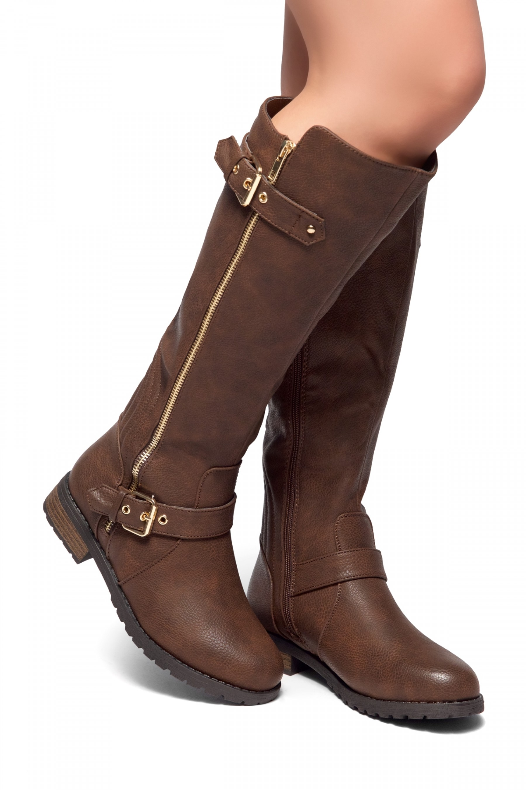 BROWN BOOTS herstyle city runaway-zipper trim, buckle detail riding knee high boots ( brown) TPGYIXI