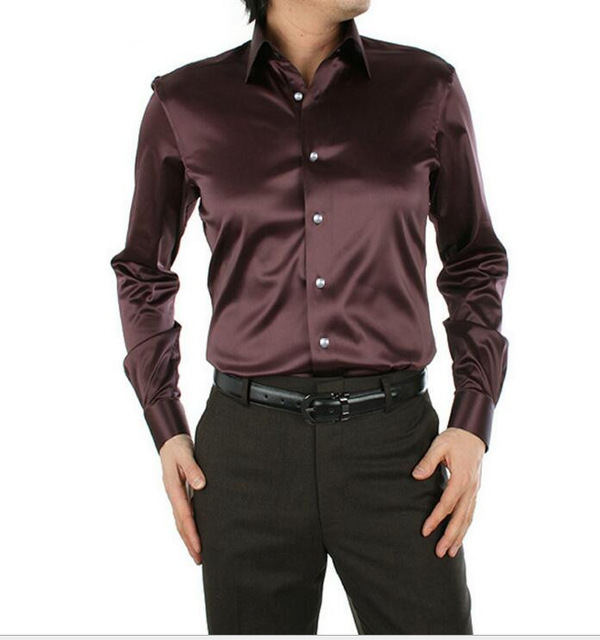 Brown shirts for men high quality dress shirts men silk shirt tuxedo shirts plus size : s-xxxxxl  korean IHIDFCY