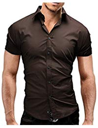Brown shirts for men lyon becker mens short sleeve shirts casual formal slim fit shirt top s m l MWUZRTG