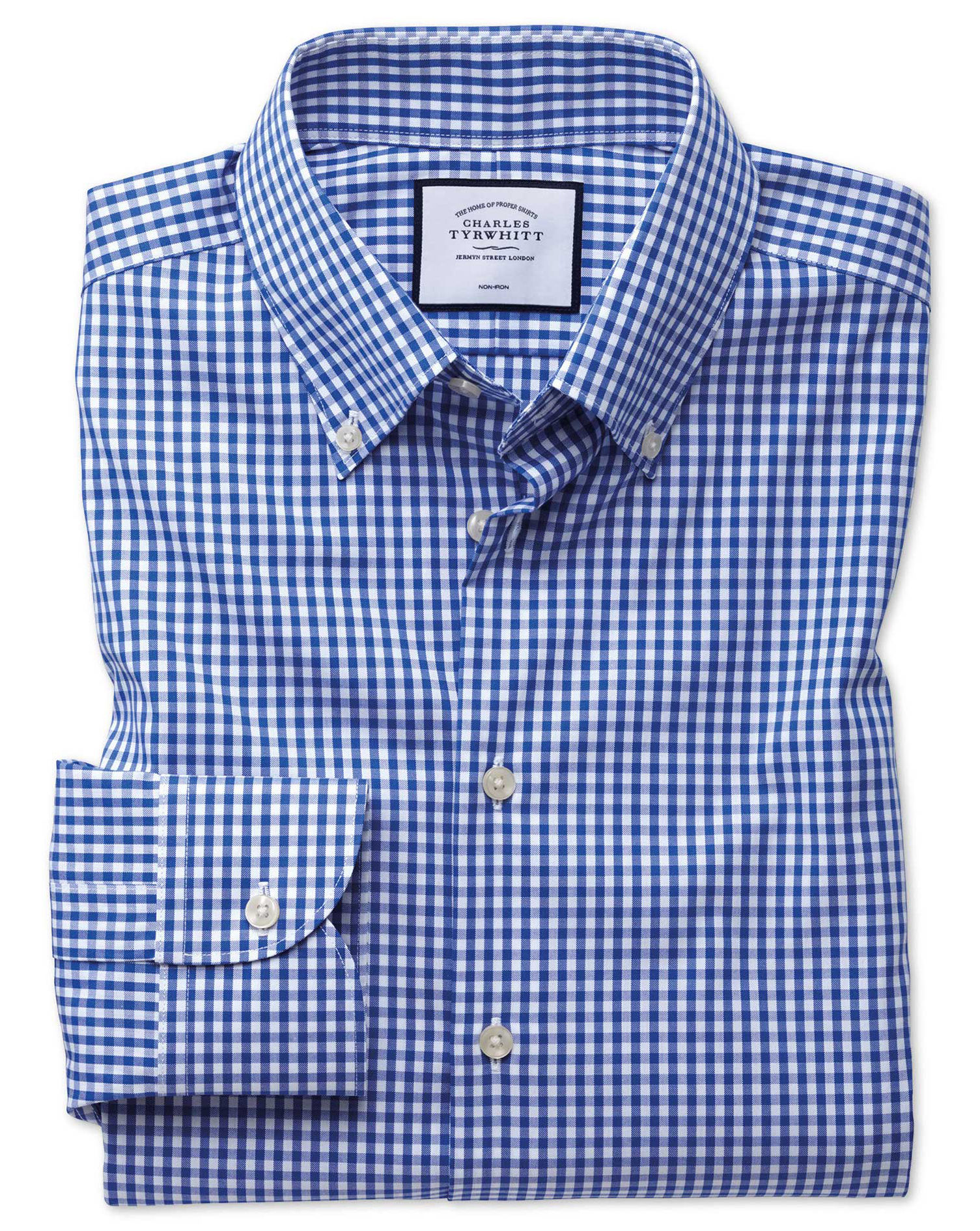 Business Shirts ... classic fit button-down business casual non-iron royal blue shirt FWHIFPE