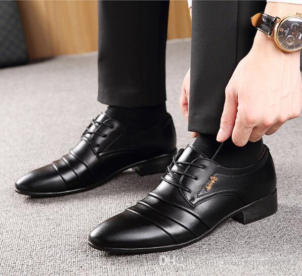 Business Shoes men leather dress shoes 2018 fashion wedding shoes breathable business shoes  lace up flat shoe VGLZSBP