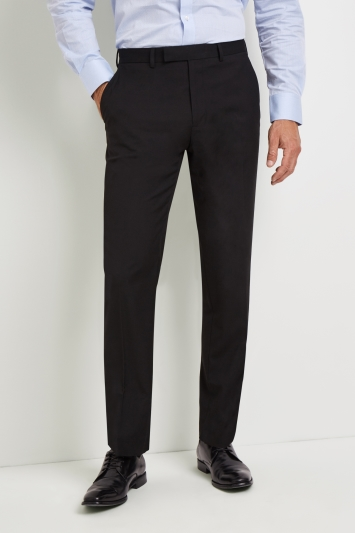 Business Trousers moss esquire regular fit machine washable black plain trousers with stretch GXOQVGG