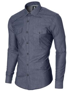 Button Down Shirts mens slim fit casual button-up shirt 2 pockets blue (mod1446ls) ENKWLRD