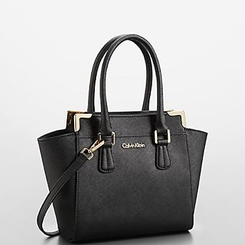 CALVIN KLEIN SMALL BAGS saffiano leather small winged tote bag | calvin klein DKCEQBT