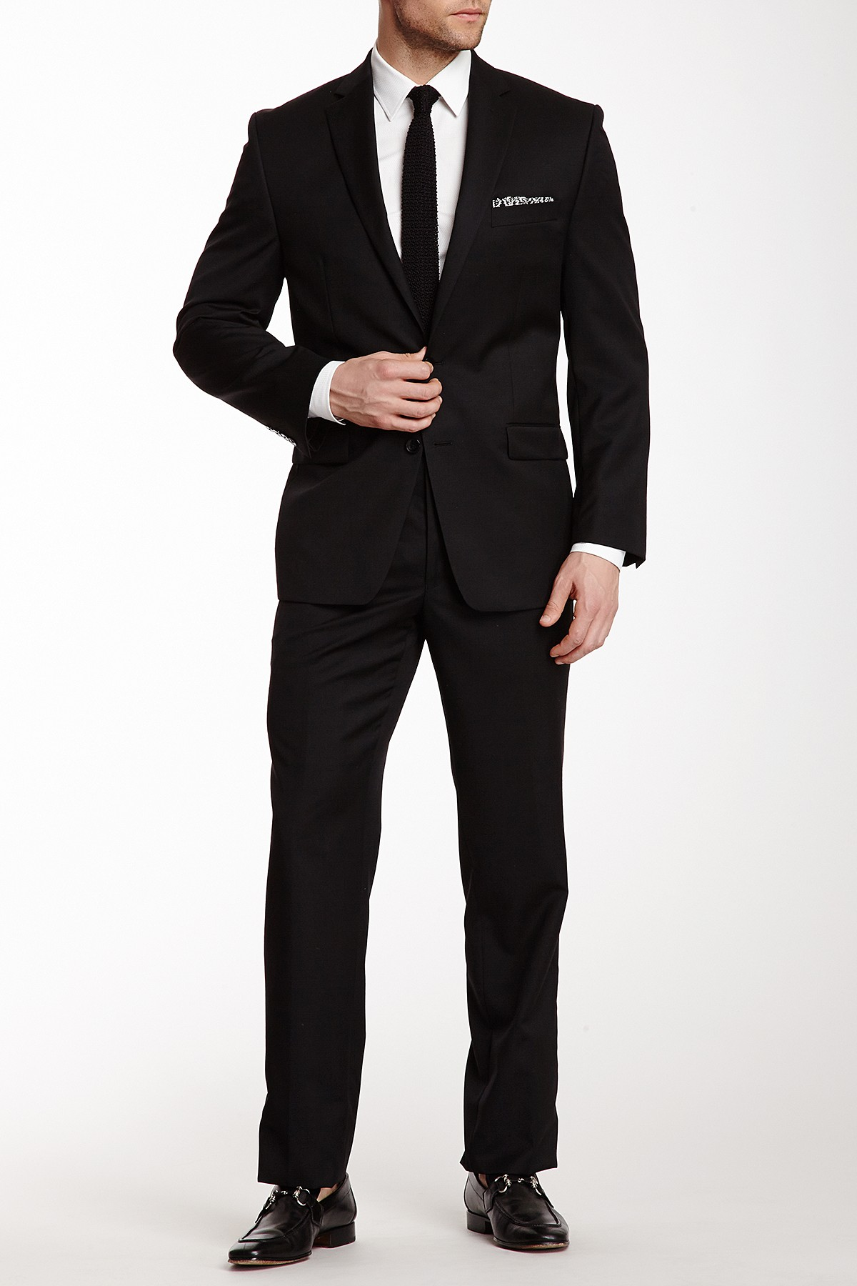 Calvin Klein suits image of calvin klein black solid two button notch lapel wool suit MLGCVLK