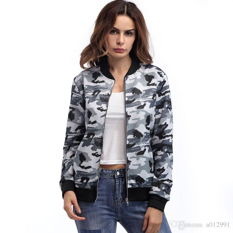 Camouflage Jacket Women 2017 women camouflage jacket american style casual fashion coat women  autumn camo jacket TDBHNPY