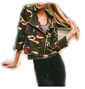 Camouflage Jacket Women camouflage jackets for women, army green camouflage rose print jacket (s,  dark green ZAWRKAL