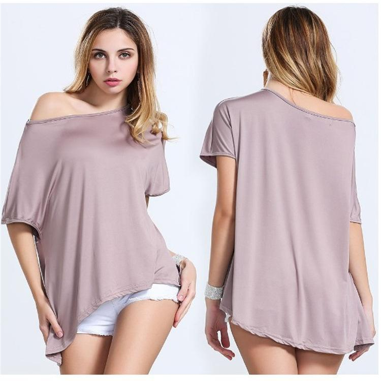 Cap Sleeve Tops t shirt women 2016 clothes casual sexy off the shoulder cap sleeve tops for  ladies AVRRMNC