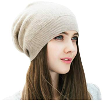 Cashmere Beanie for Women waysoft pure 100% cashmere beanie for women in a gift box, oversized women HCONLUU