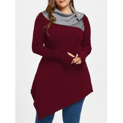 Cheap tunics wholesale plus size thumb hole asymmetrical tunic top - burgundy 2xl long  turn-down collar PZSJAEK