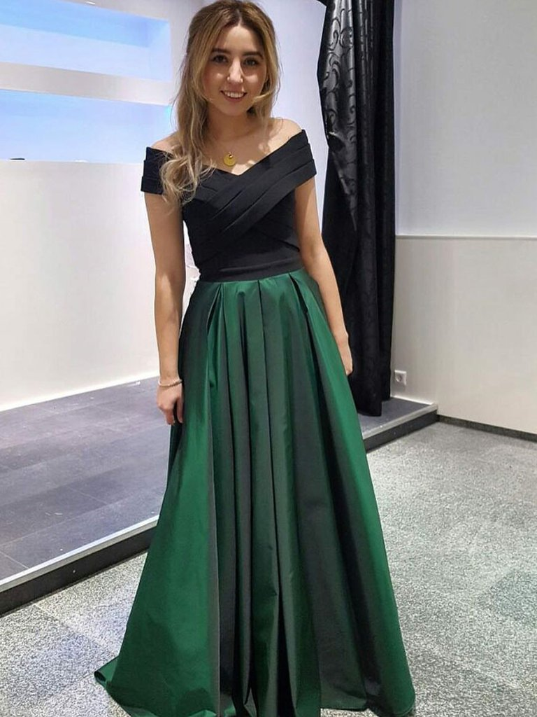 Chic Evening Dresses 2018 chic a-line prom dresses off-the-shoulder taffeta cheap long prom LYUFEHG