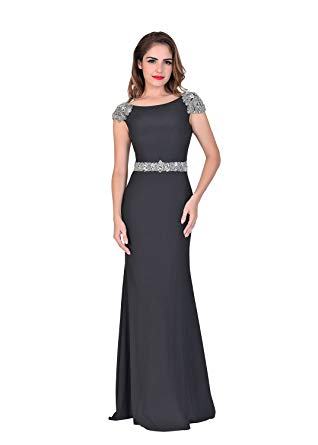 Chic Evening Dresses chic belle cap sleeve long prom dresses beading evening gowns us size 12 SRNPGPD