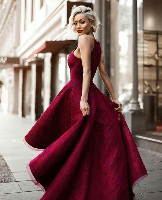 Chic Evening Dresses ... chic prom dresses sexy halter burgundy lace prom dress/evening dress  jkl068 ... MBLUKPZ