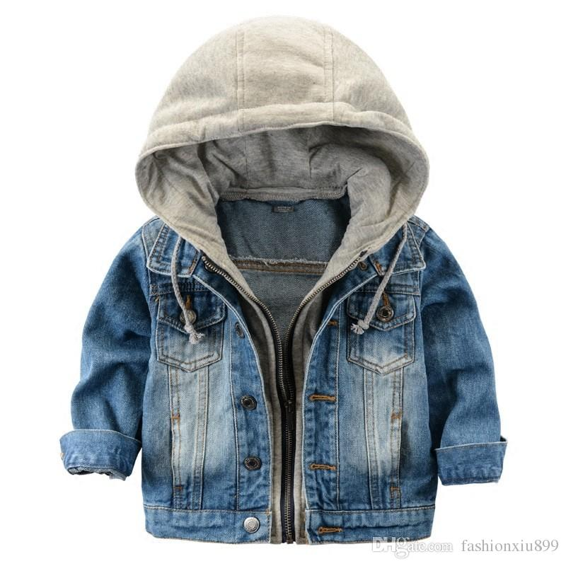 Children's jackets for boys 2017 childrenu0027s jacket denim boys hooded jean jackets girls kids clothing  baby coat casual outerwear FGHMZWF