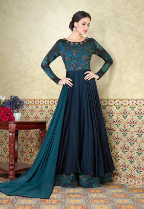 Cotton Suits printed cotton abaya style suit in teal blue and navy blue VYELXDZ