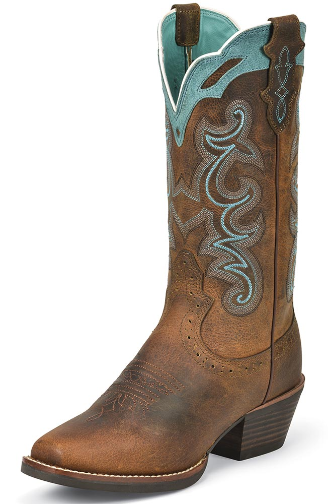 cowboy boots for women justin womens silver collection cowboy boots - rugged tan buffalo XFQQJNR