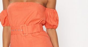 Day Dresses orange belt detail bardot shift dress LPFOQBF