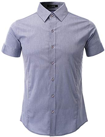 Dress shirts flatseven mens slim fit basic dress shirts short sleeve (sh401) blue, xs YEGDGSH