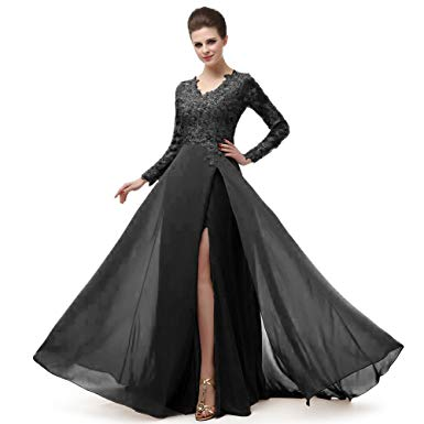 ELEGANT DRESSES beautiful prom v neckline ruffled skirt long sleeve high waistline cocktail  dress mnq170406-black- IODVABL