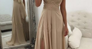 ELEGANT DRESSES elegant prom dresses,v neck prom gown,champagne prom dresses,long prom dress,slit  prom dress,long evening dresses QYNJUML