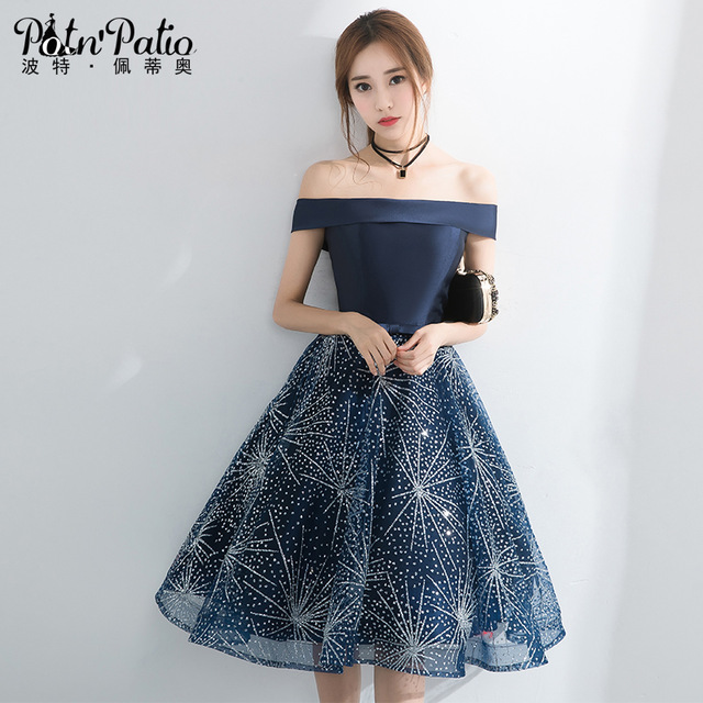 ELEGANT DRESSES navy blue short prom dresses for gratuating date 2018 boat neck off the  shoulder sequined UNBAGIX