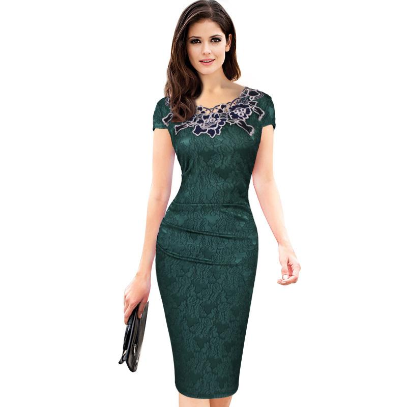 Elegant Pencil Dresses s 3xl luxury rose applique pencil dress elegant lace stitching short sleeve  women dress for VLHHSYC