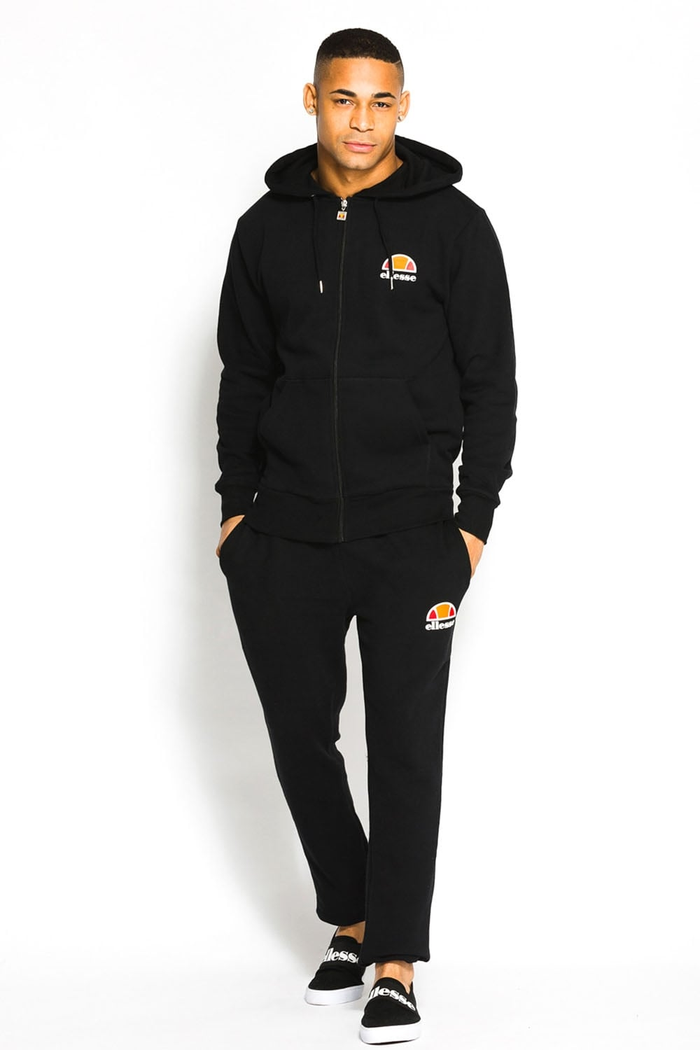 Ellesse tracksuits miletto zip thru hooded tracksuit | black BVOYQUR