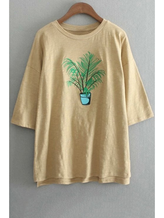 Embroidered t shirts sale oversized crew neck plant embroidered t-shirt - yellow one size(fit  size LASUEJM