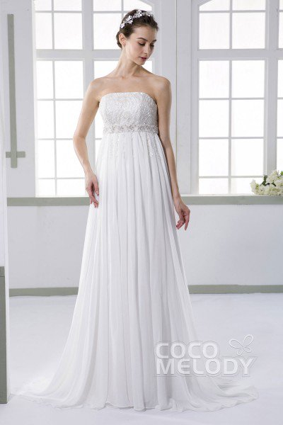 Empire Wedding Dresses luxurious sheath-column strapless empire sweep-brush train chiffon ivory  sleeveless lace up- NGDBUTQ