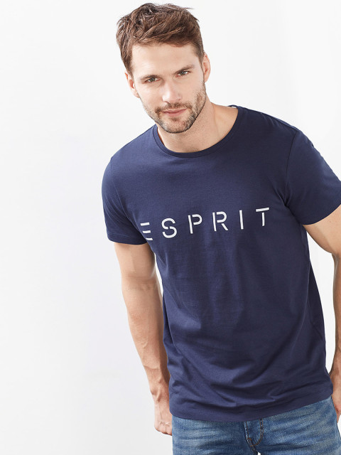 ESPRIT MENS SHIRTS esprit men navy blue printed slim fit round neck t-shirt JFOMCXH